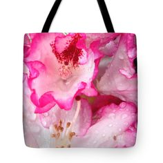 Pink-tipped Rhododendron Blossoms And Raindrops Tote Bag for Sale by Anna Porter Floral Tote Bags, Rain Drops, Bag Sale, Blossoms, Totes, Floral Design, Anna, Shoulder, Easy
