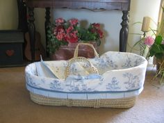 Blue Toile Moses Basket