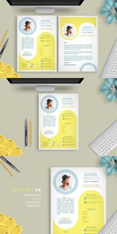 Explore over unique and ready to use resume templates to create eye-catching and professional documents for any industry. Portfolio Design Layouts, Portfolio Resume, Portfolio Web, Cv Inspiration, Graphic Design Inspiration, Graphic Design Resume, Brochure Design, Resume Design Template, Resume Templates