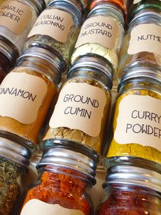 Our Paleo Life | Organizing the Spices (jars from World Market, labels from Martha Stewart)