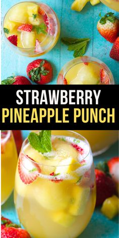 Sparkling Strawberry Pineapple Punch Try this Sparkling Pineapple Strawberry Punch for your next party! Sweet pineapple juice is paired with bubbly ginger ale, fresh fruit and mint for a refreshing non alcoholic punch! Pineapple Drinks, Pineapple Punch, Fruit Drinks, Smoothie Drinks, Juice Drinks, Party Drinks, Smoothies, Jungle Juice, Alcohol Punch