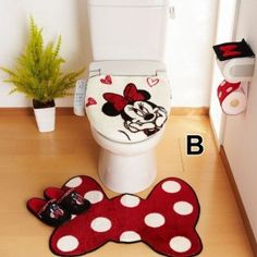pretty and cute Minnie Mouse bathroom sets ideas – home design – kids bathroom decor Disney Bathroom Sets, Mickey Mouse Bathroom, Mickey Mouse House, Mickey Minnie Mouse, Mickey Bad, Room Deco, Sewing Projects, Projects To Try, Bathroom Crafts