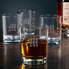 Home Wet Bar Eastham Personalized 10 oz. Rock Glass Monogram: M