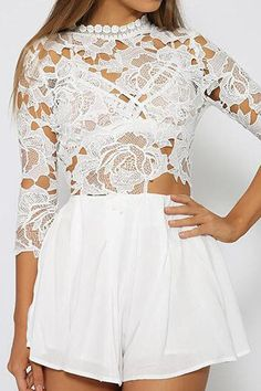 Lace Embroidered Hollow Out Rompers Jumpsuit