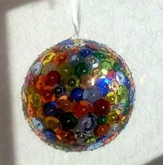 Colorful sequined disco ball, perfect for any #NYE party!  Make your own with this #craft #tutorial!
