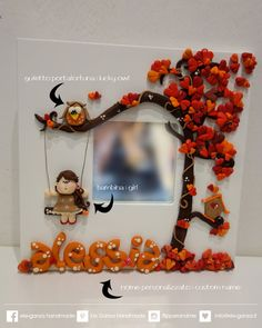 decorative mirror with custom name for kids room by eleganza Clay Art Projects, Clay Crafts, Diy And Crafts, Crafts For Kids, Cute Polymer Clay, Polymer Clay Miniatures, Polymer Clay Jewelry, Photo Frame Decoration, Ramadan Crafts