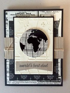 card globe world map globus maculine for men Stampin up going global father's day card by melanie ott Masculine Birthday Cards, Masculine Cards, Cute Cards, Diy Cards, Men's Cards, Scrapbooking, Scrapbook Cards, Travel Cards, Fathers Day Crafts