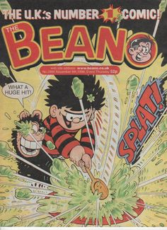 The Beano by D. Thomson & Co. Another comic that I used to read when I was young. Every issue would have a free toy or a bag of sweets. Very British in terms of cartoon illustration and humour (bad puns and random slapstick). British Magazines, Magazines For Kids, Music Magazines, Bedroom Wall Collage, Jack In The Box, Childhood Days, Cartoon Tv, Comic Covers, Cover Art