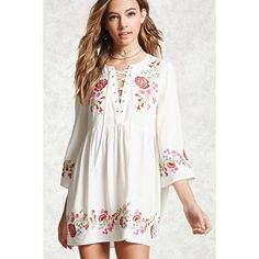 Forever21 Embroidered Peasant Dress (475 ARS) ❤ liked on Polyvore featuring dresses, white mini dress, floral embroidered dress, long-sleeve maxi dresses, plunging v neck dress and long sleeve mini dress