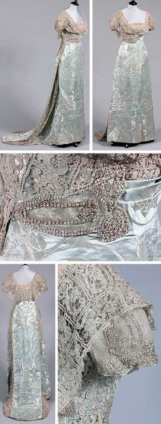 A Reville & Rossiter silver brocaded ice blue satin ball/court gown, circa 1911