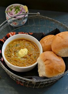 Pav bhaji – Mumbai's favourite street food. Mashed vegetables cooked with exotic spices, served with toasted dinner rolls. Heaven it is !