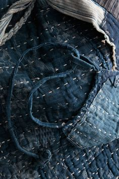 Lovingly worn sashiko /  Sashiko was the Japanese tradition for quilting
