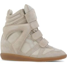 Isabel Marant Étoile High-Tops & Trainers ($555) ❤ liked on Polyvore featuring shoes, sneakers, light grey, hi tops, high top sneakers, rubber sole shoes, wedge heel sneakers and high top wedge sneakers