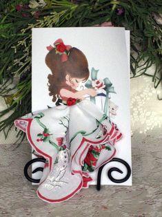 Little Lady Christmas Keepsake Hanky Card by onceuponahanky