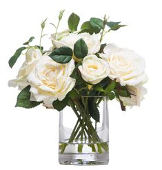 White Roses Faux Flower Arrangement in Clear Glass Cylinder Vase