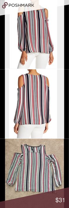 NWOT Bobeau Striped Cold Shoulder Blouse Scoop neck, long blouson sleeves, cold shoulder cutouts, allover textured construction. Hand wash cold. 95% polyester, 5% spandex. Pink and navy stripes. bobeau Tops Blouses