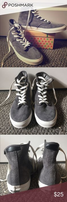 Vans high tops Great shoes, never worn! Grey with an awesome design on the interior of the shoe. Go great with anything, and are super comfortable! Vans Shoes Sneakers