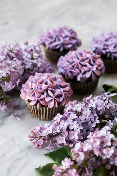 Small Batch Lilac Chocolate Cupcakes