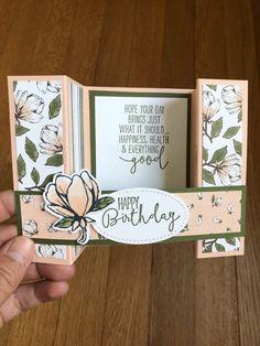 Fun Fold Cards, Folded Cards, Mason Jar Cards, Bridge Card, Magnolia Stamps, Stamping Up Cards, Bird Cards, Creative Cards, Homemade Cards