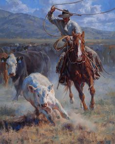 """Buckaroo Roper"" by Jason Rich (Cowboy Artist). 🌺🌻✿ ❀ ❁✿ For more great pins go to Cowboy Horse, Western Cowboy, Films Western, Western Artists, Cowboy Artwork, Arte Equina, Westerns, West Art, Ecole Art"