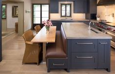 Modern Kitchen Design with Incredible Built in Banquette Seating Kitchen Island, Charcoal Gray Kitchen Cabinet, Charcoal Gray Kitchen Cabinet, and Gray Concrete Countertop, 10 designs in Kitchen Island With Built In Seating gallery Kitchen Island With Bench Seating, Kitchen Island With Seating, Kitchen Benches, Kitchen Islands, Kitchen Island With Table Attached, Kitchen Island And Table Combo, Moveable Kitchen Island, Booth Seating In Kitchen, Kitchen Tables
