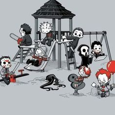 From left to right: Jason Voorhees Leatherface Pinhead Freddy Krueger Suma Michael Myers CHucky Scream Billy Pennywise Michael Myers, Arte Horror, Horror Art, Chibi, Funny Horror, Creepy Horror, Horror Movie Characters, Horror Movie Tattoos, Slasher Movies