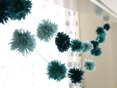 DIY Pom Pom Garland: Looking for an easy and fun DIY? This pom pom garland is so simple and takes just a few steps. Create this cute garland to dress up a mantle or kids' room. Wedding Bunting, Diy Wedding, Wedding Decorations, Diy Bunting, Bunting Ideas, Bunting Garland, Buntings, Wedding Crafts, Craft Stick Crafts