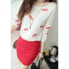 $5.69 Stylish Scoop Neck Inwrought Red Lip Pattern Long Sleeves T-Shirt For Women