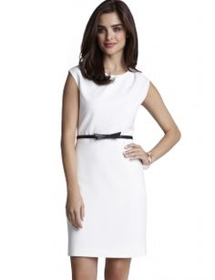 Bow belted white dress from the Limited, perfect for the office