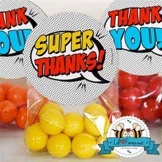 "2"" Favor Tags Pop Art SuperHero Thank you tag"