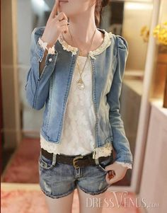 Stunning New Arrival Korean Style Slim Round Neckline Long Sleeves Zipper Embroidery Jeans Jacket