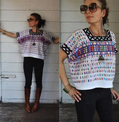 SALE Embroidered Cropped Blouse Indigenous by LaDeaDeiSogni