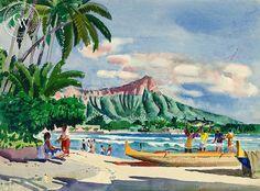 Diamond Head, Hawaii, c. 1950's, California art by Millard Sheets. HD giclee art prints for sale at CaliforniaWatercolor.com - original California paintings, & premium giclee prints for sale