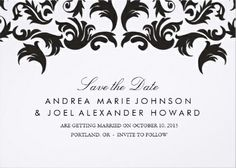 Elegant black and white save-the-date wedding announcements.
