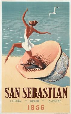 Spain Travel Art Print San Sebastian Vintage Spanish Home Decor Poster . On Etsy, Print Poster Retro, Poster S, Poster Prints, Art Print, Poster Wall, Tourism Poster, Vintage Advertisements, Vintage Ads, Vintage Makeup