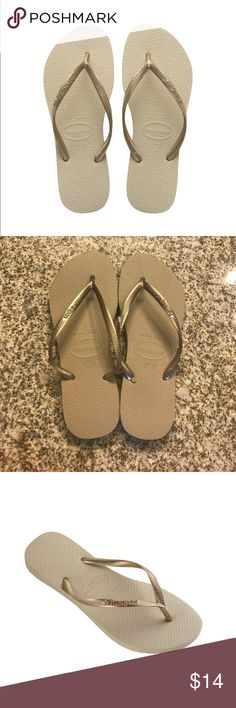 NWT Havaianas Women's Slim Tan/Golden Flipflops Brand New, with tags Havaianas Women's Tan/Golden Slim Flip Flops with metallic straps. Made in Brazil, these are made of 100% high-quality, super-soft and durable rubber. Size 9/10  🚫Trades/Holds🚫 📦Ships same day if PO is open📦 💰Firm Price Havaianas Shoes Sandals