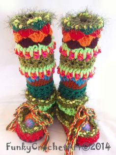 Hippy Crochet Slipper Boots/ Leg Warmer by FunkyCrochetArt on Etsy, $50.00 ha! I want to try to make these!