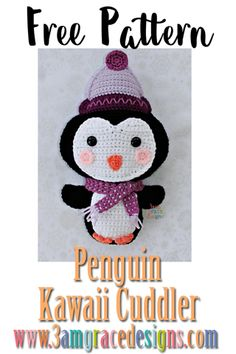 Penguin Kawaii Cuddler™ – Free Crochet Pattern Our free penguin amigurumi crochet pattern is just in time for winter! He's wearing a crochet beanie and scarf – perfect for the Christmas season of caroling. Kawaii Crochet, Love Crochet, Crochet Gifts, Crochet Flowers, Crochet Food, Kids Crochet, Beautiful Crochet, Crochet Beanie Pattern, Crochet Patterns Amigurumi