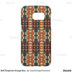 Red Turquoise Orange Rustic Cabin Mosaic Pattern Samsung Galaxy S7 Case