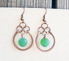 Hammered Copper Earrings Seafoam Green by LittleMissHaywire