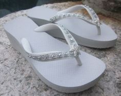 Crystals Ivory Or White High Wedge Bridal Flip Flops With Crystal Accented Suedene Strap Products Pinterest Wedges And