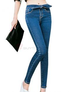 Cute Bowknot Decorated High Waist Slim Jeans