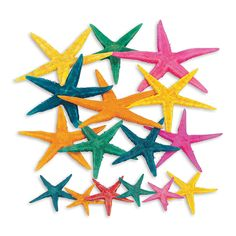 """Genuine Dyed Starfish - OrientalTrading.com  Genuine Dyed Starfish. Dyed in beautiful bright colors, these natural starfish can be used to create eye-catching centerpieces. You could also scatter these at the bottom of your pool to give it a """"coastal"""" appearance. (30 pcs. per unit) 1"""" - 3"""" $6.25/30 pieces"""
