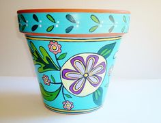 Hand Painted Flower Pot 8 Inch Terracotta Happy by ThePaintedPine