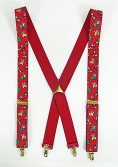 Santa Claus Suspenders CAS West Germany X-Back Clips Christmas Holiday #CAS