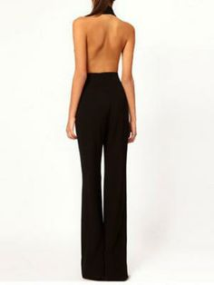 Sexy Low Cut Backless Jumpsuit In Black