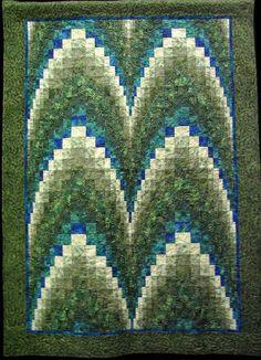 Bargello in green by Judy Samuelson. Design Source: Linda Ballard's Bargello book