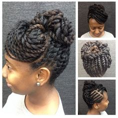 """Very cute! (at www.kurleebelle.com)"" - two-strand twists / flat twists updo"