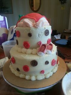 Red and brown baby shower cake