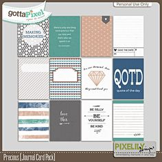 Precious [Journal Card Pack] :: Gotta Pixel Digital Scrapbook Store by Pixelily Designs $2.00
